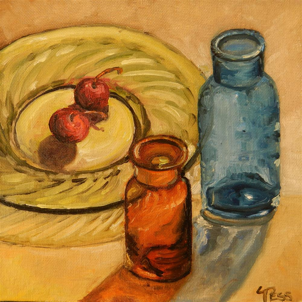 """Two Bottles and Two Cherries"" original fine art by Tess Lehman"
