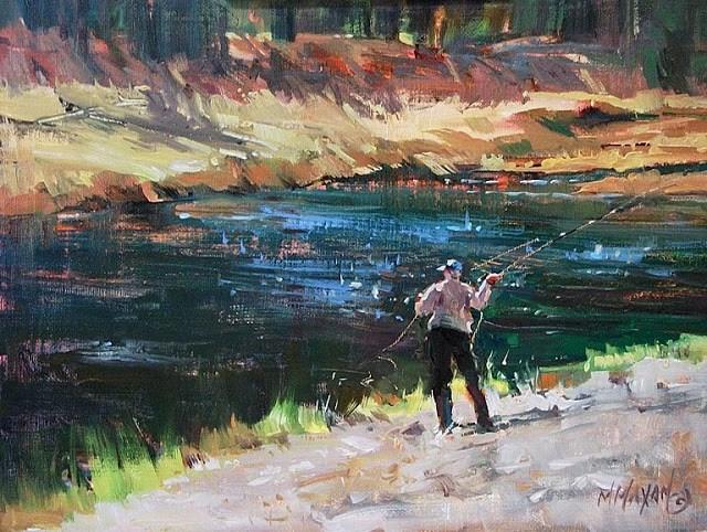 """Fall Run, fishing on the Madison, Yellowstone Park"" original fine art by Mary Maxam"