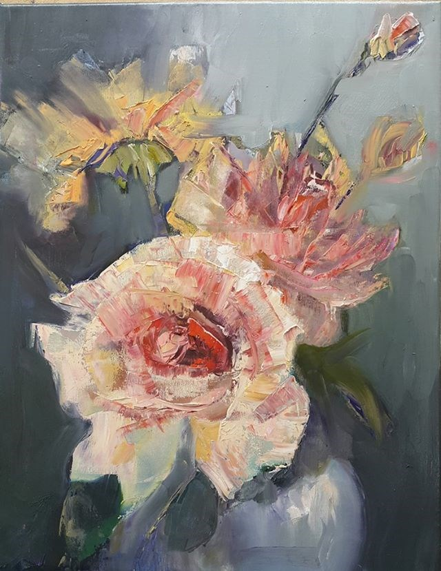 """Smell the roses"" original fine art by Rentia Coetzee"