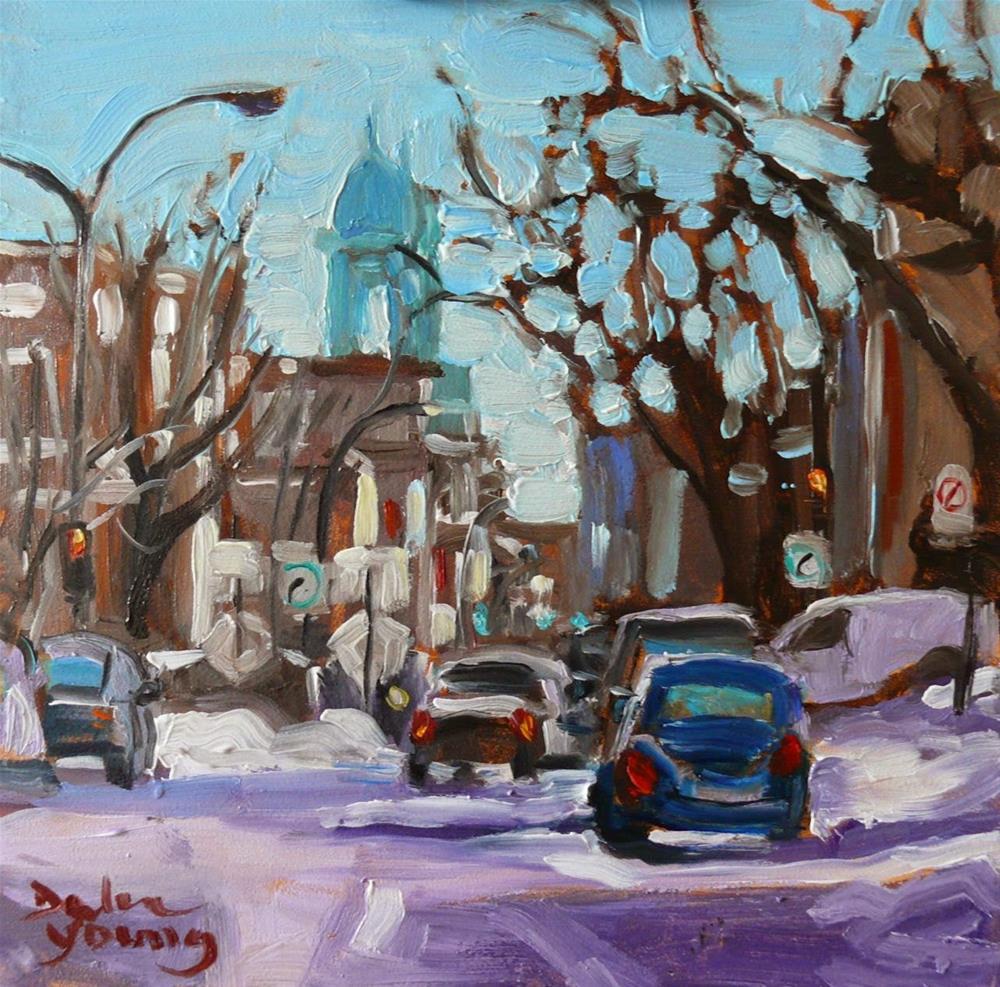 """821 Montreal Winter, La Petite-Patrie, 6x6, oil"" original fine art by Darlene Young"
