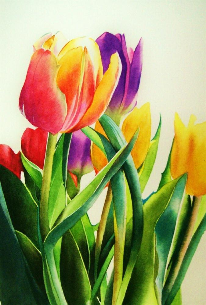 """Spring Tulips"" original fine art by Jacqueline Gnott, whs"