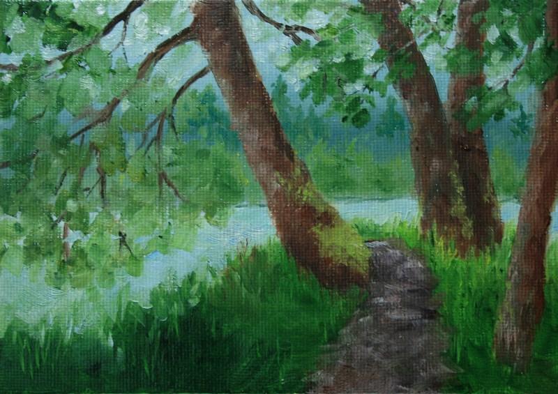 """Easy Being Green"" original fine art by Jean Nelson"