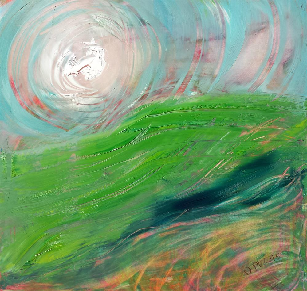 """Valley Fog 4 abstract landscape oil painting"" original fine art by Pam Van Londen"