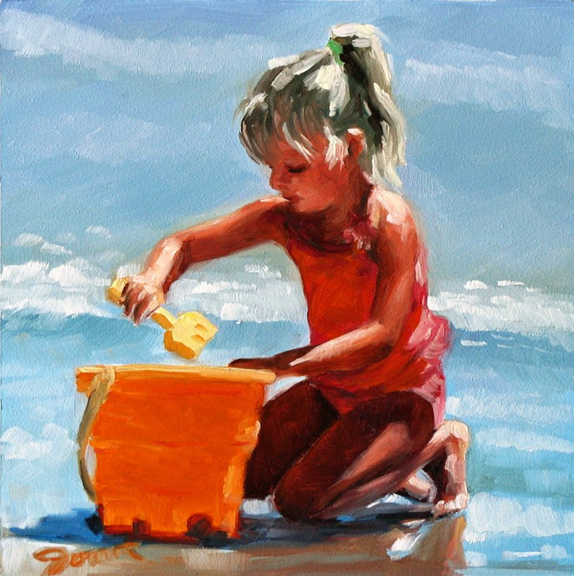 """A Bucket of Sunshine--Beach Babies Series"" original fine art by Joanna Bingham"