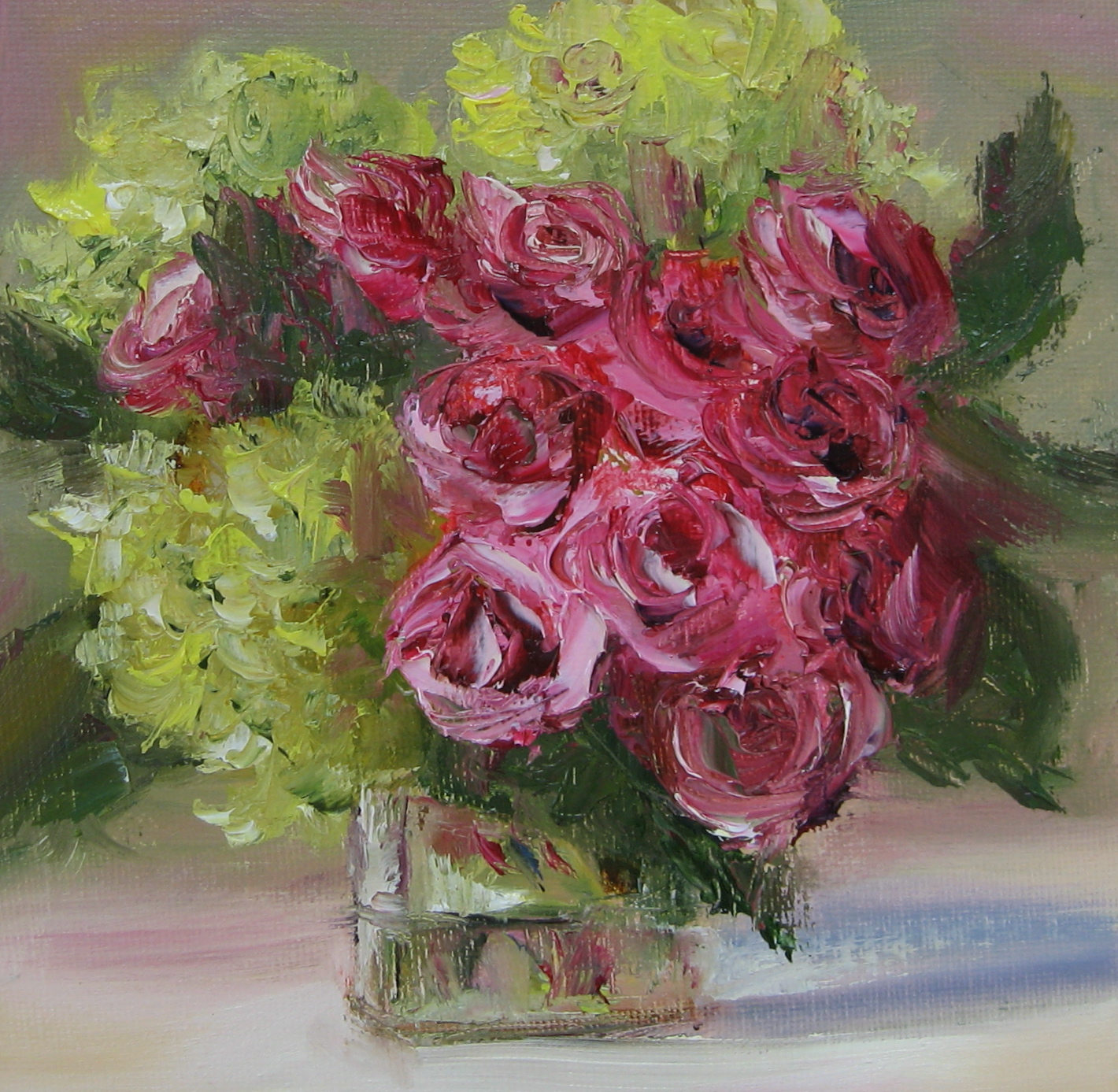 """Flower Study #34 Roses & Hydrangeas"" original fine art by Pat Fiorello"