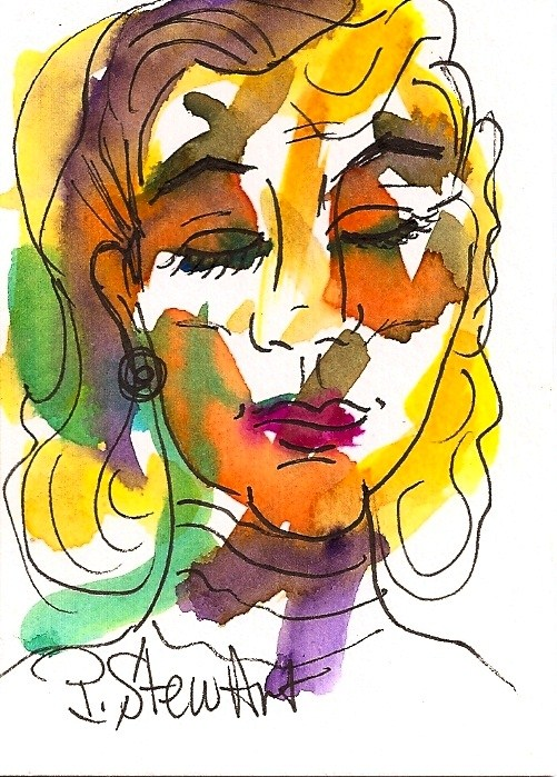 """""""ACEO I am not Snooty, Just Well-Bred Original WC portrait of a rich lady"""" original fine art by Penny Lee StewArt"""