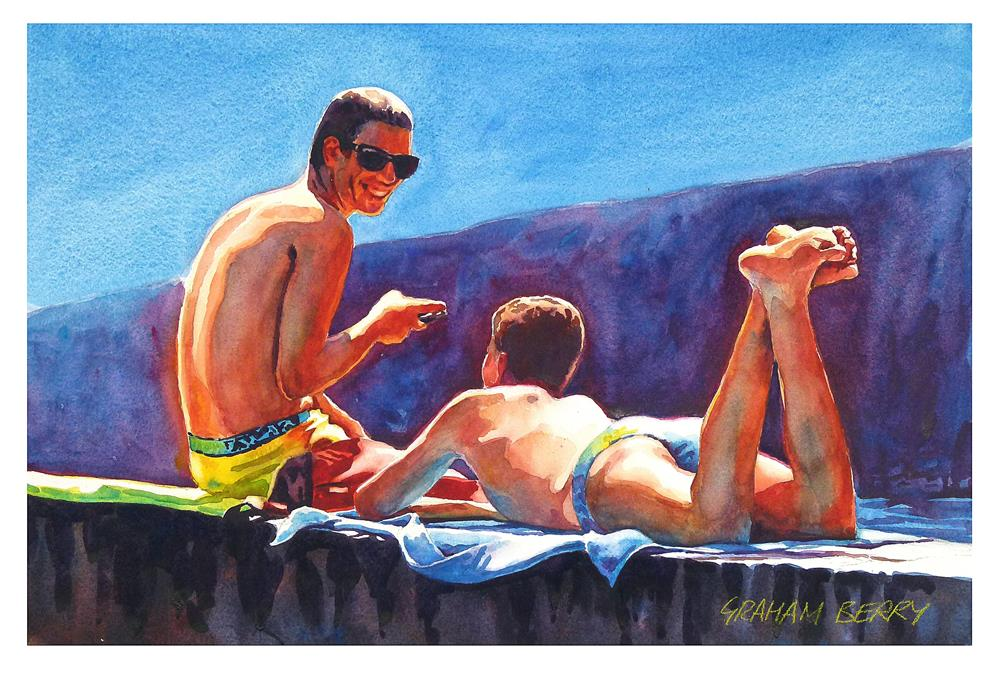 """Lads talk."" original fine art by Graham Berry"