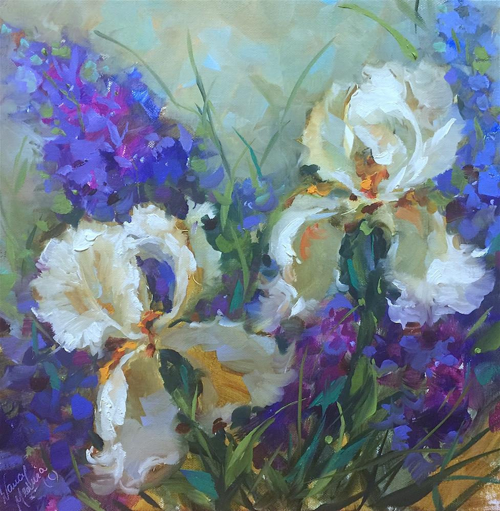 """Sapphire Lace White Irises - Nancy Medina Art"" original fine art by Nancy Medina"