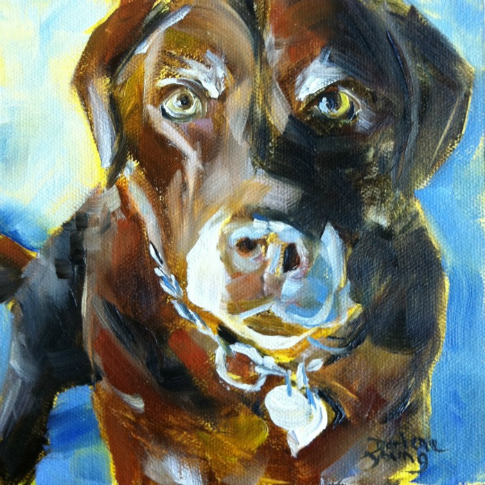"""The Best Dog in the World #2, oil on canvas board,6x6"" original fine art by Darlene Young"