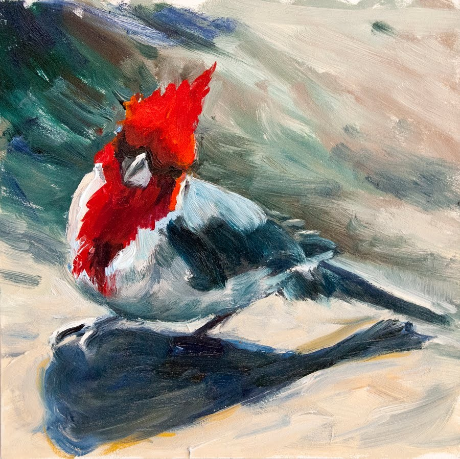 """KMD2748 You Say What? (6x6, original oil, by Colorado artist Kit Hevron Mahoney)"" original fine art by Kit Hevron Mahoney"