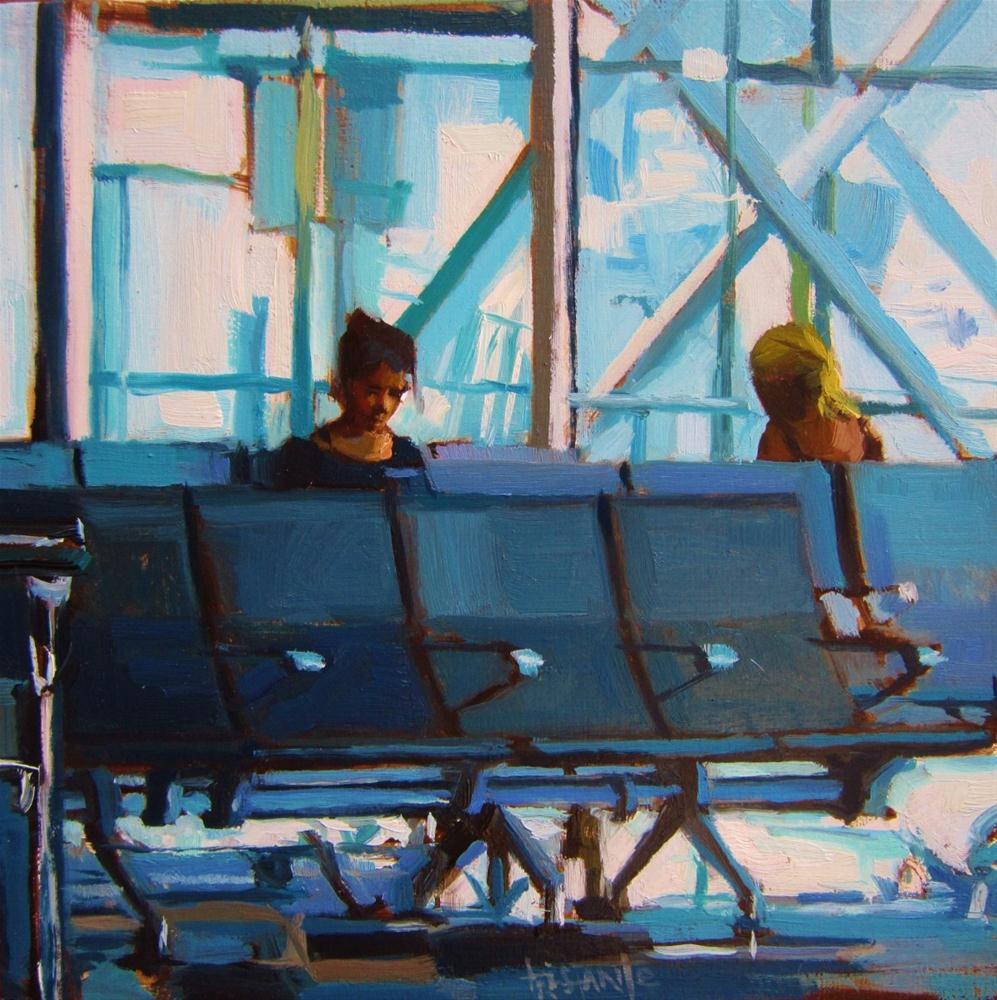 """Waiting in the airport"" original fine art by Víctor Tristante"