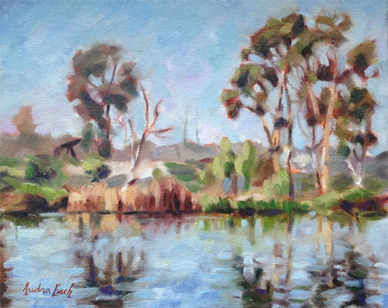 """Kenneth Hahn Park Pond #1"" original fine art by Audra Esch"