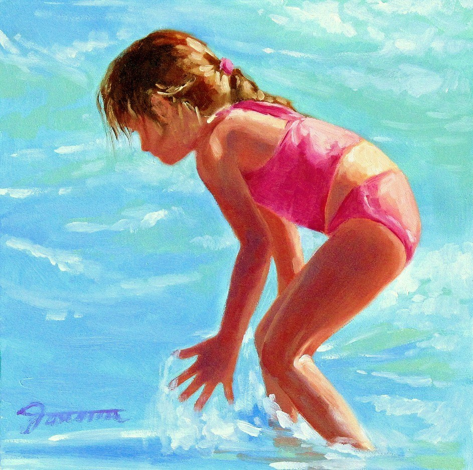 """Catching fun--Series Painting of Children On the Beach"" original fine art by Joanna Bingham"