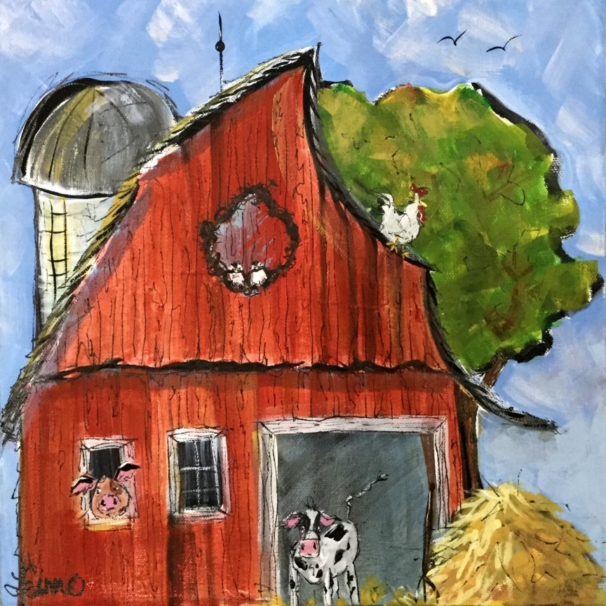 """Whimsical Barn"" original fine art by Terri Einer"