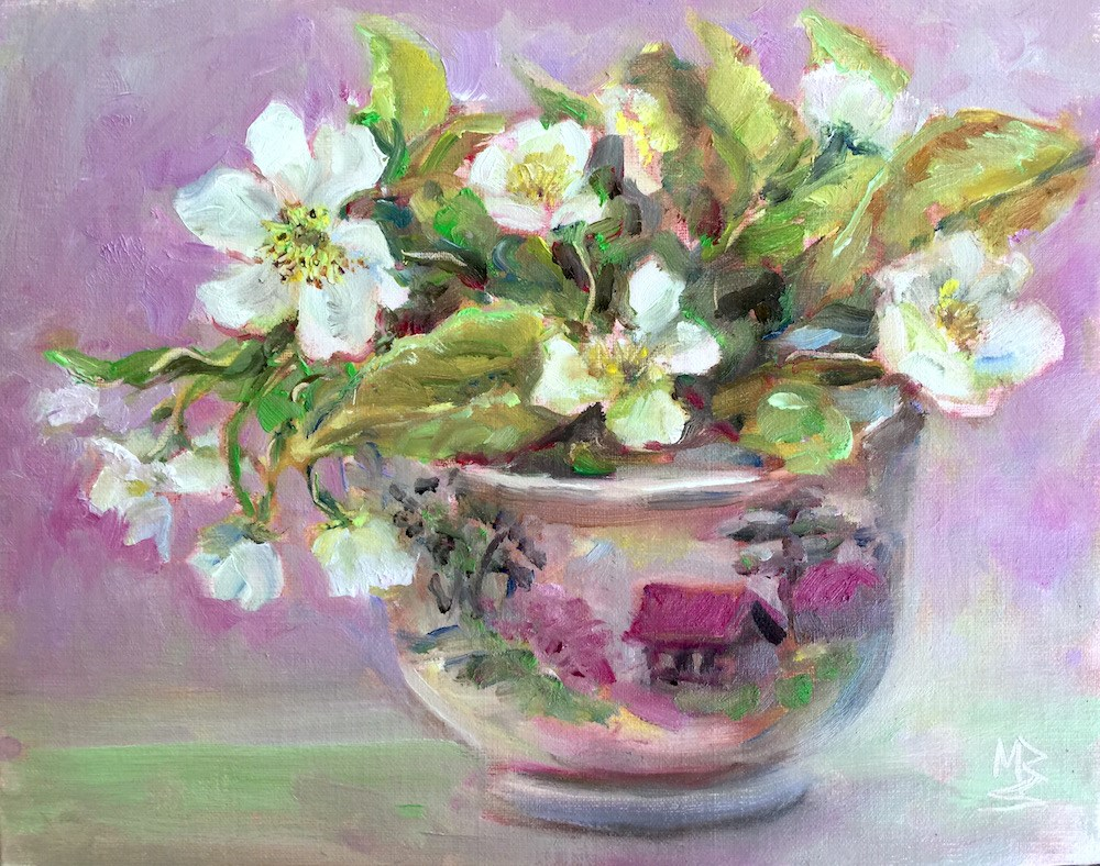 """Flowering Tree in a Teacup"" original fine art by Mary Schiros"