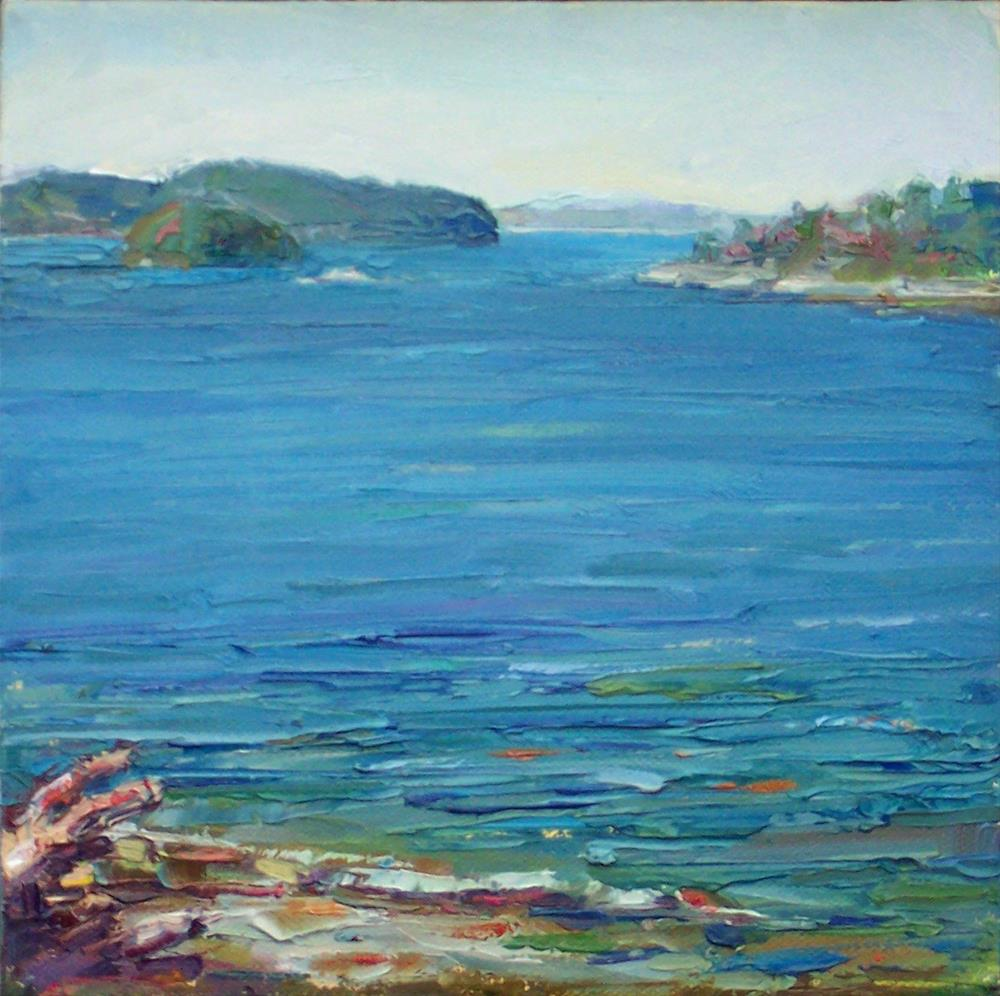 """View from Cove,seascape,oil on canvas,8x8,priceNFS"" original fine art by Joy Olney"