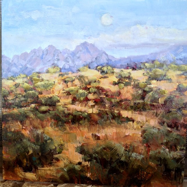 """""""Moon Over The Mountains"""" original fine art by Lindy Bridgers"""