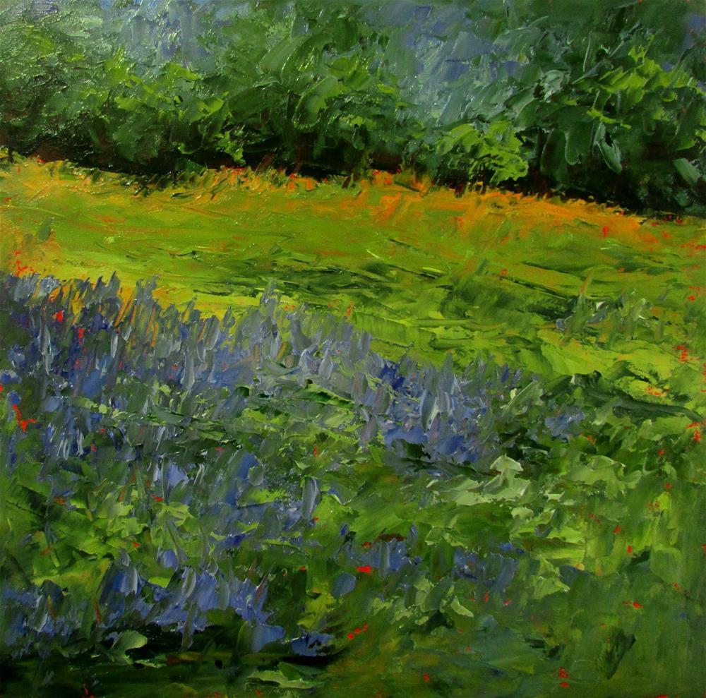 """8 x 8 inch oil Bluebells"" original fine art by Linda Yurgensen"