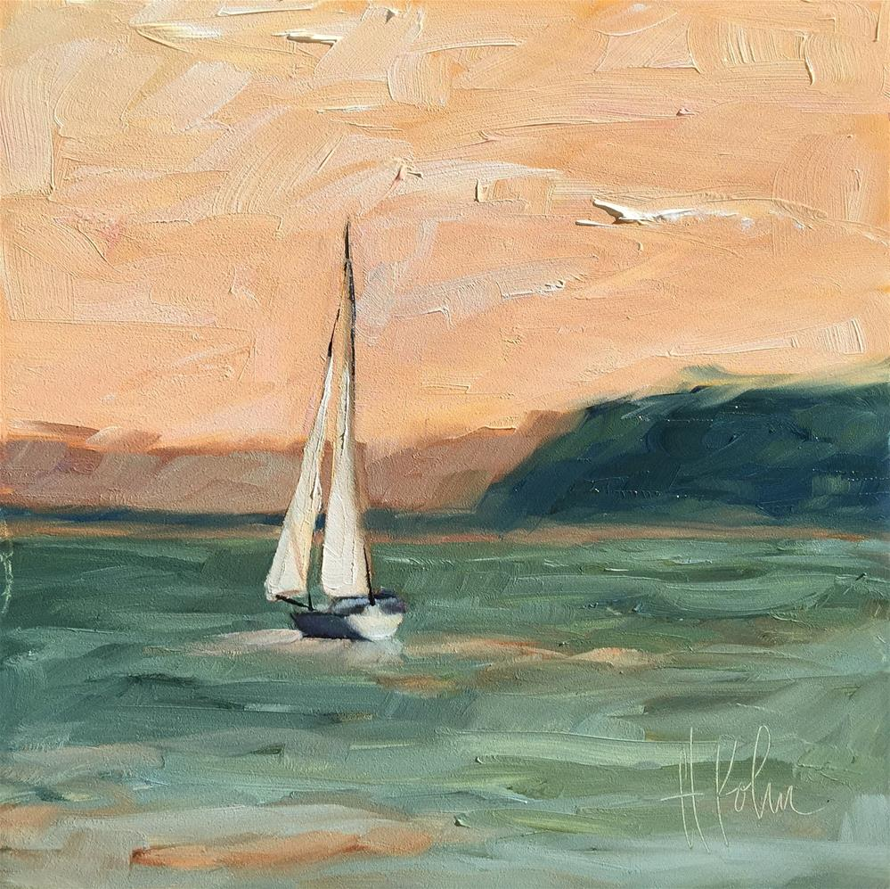 """Lake Pepin Boat 2"" original fine art by Hallie Kohn"