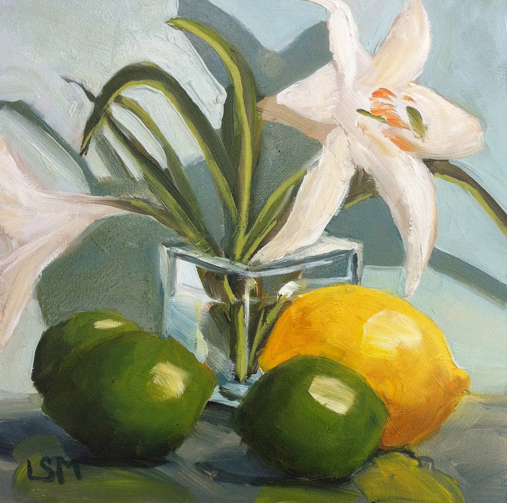 """Lemon, Limes, and Lilies"" original fine art by Linda Marino"
