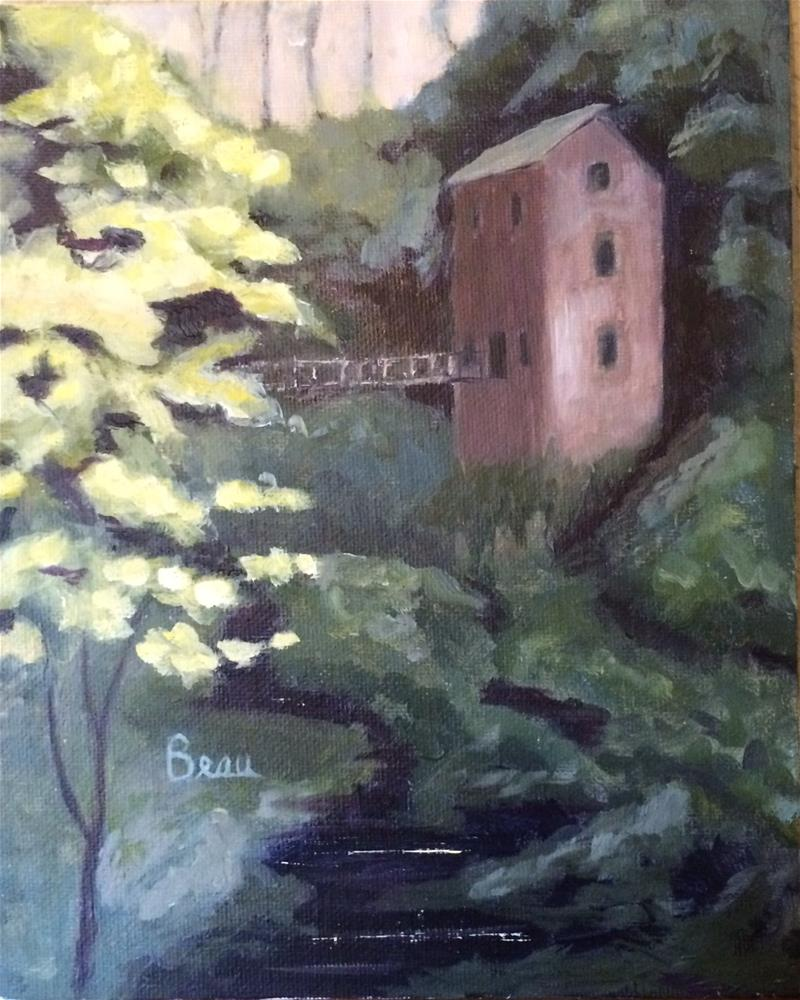 """Old Mill by the Stream"" original fine art by Beau Crump"
