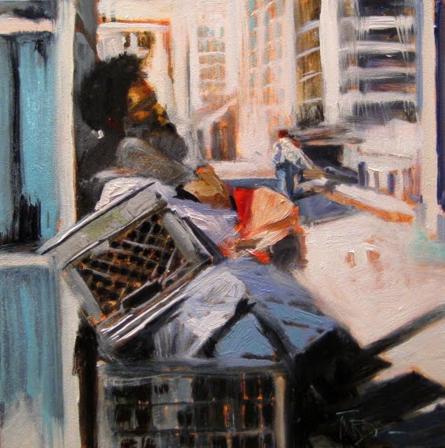 """Call for Rest oil urban landscape painting"" original fine art by Robin Weiss"