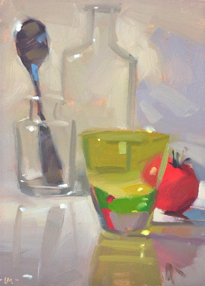 """Green Tomato Shot"" original fine art by Carol Marine"