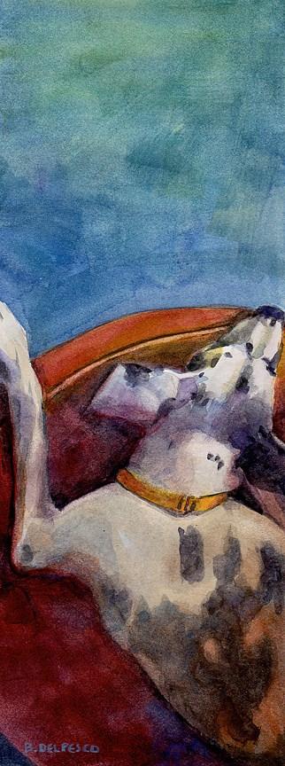 """""""Watercolor: Asleep at the Wheel"""" original fine art by Belinda Del Pesco"""