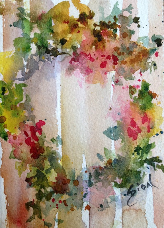 """Wreath 1"" original fine art by Sue Dion"