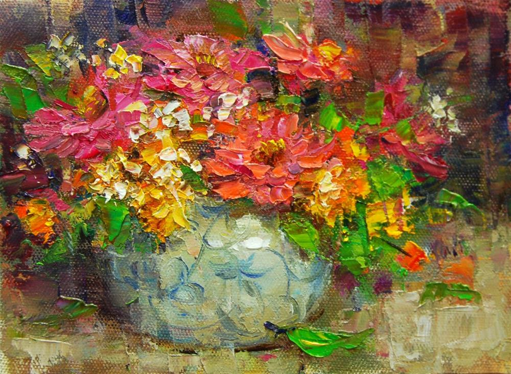 """Marigolds and Zinnias"" original fine art by Julie Ford Oliver"