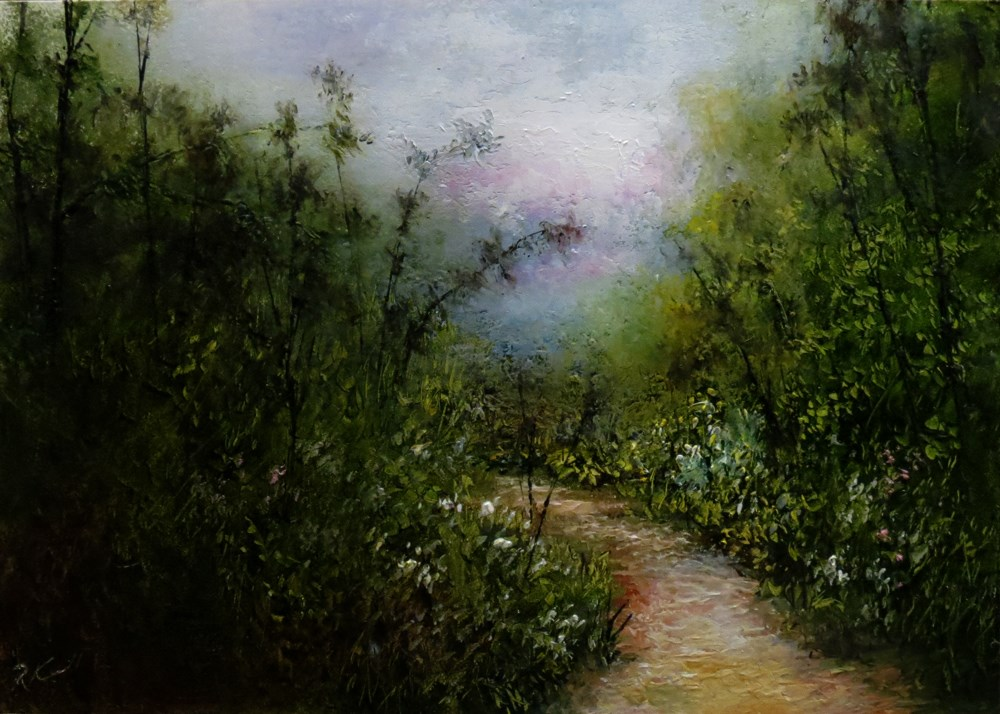"""Foggy Morning"" original fine art by Bob Kimball"