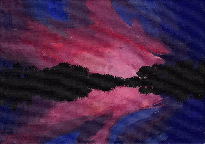 """Pink and Blue Sunset"" original fine art by J M Needham"