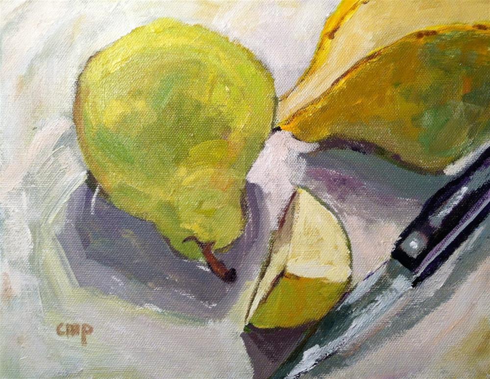 """Pear Slice"" original fine art by Christine Parker"