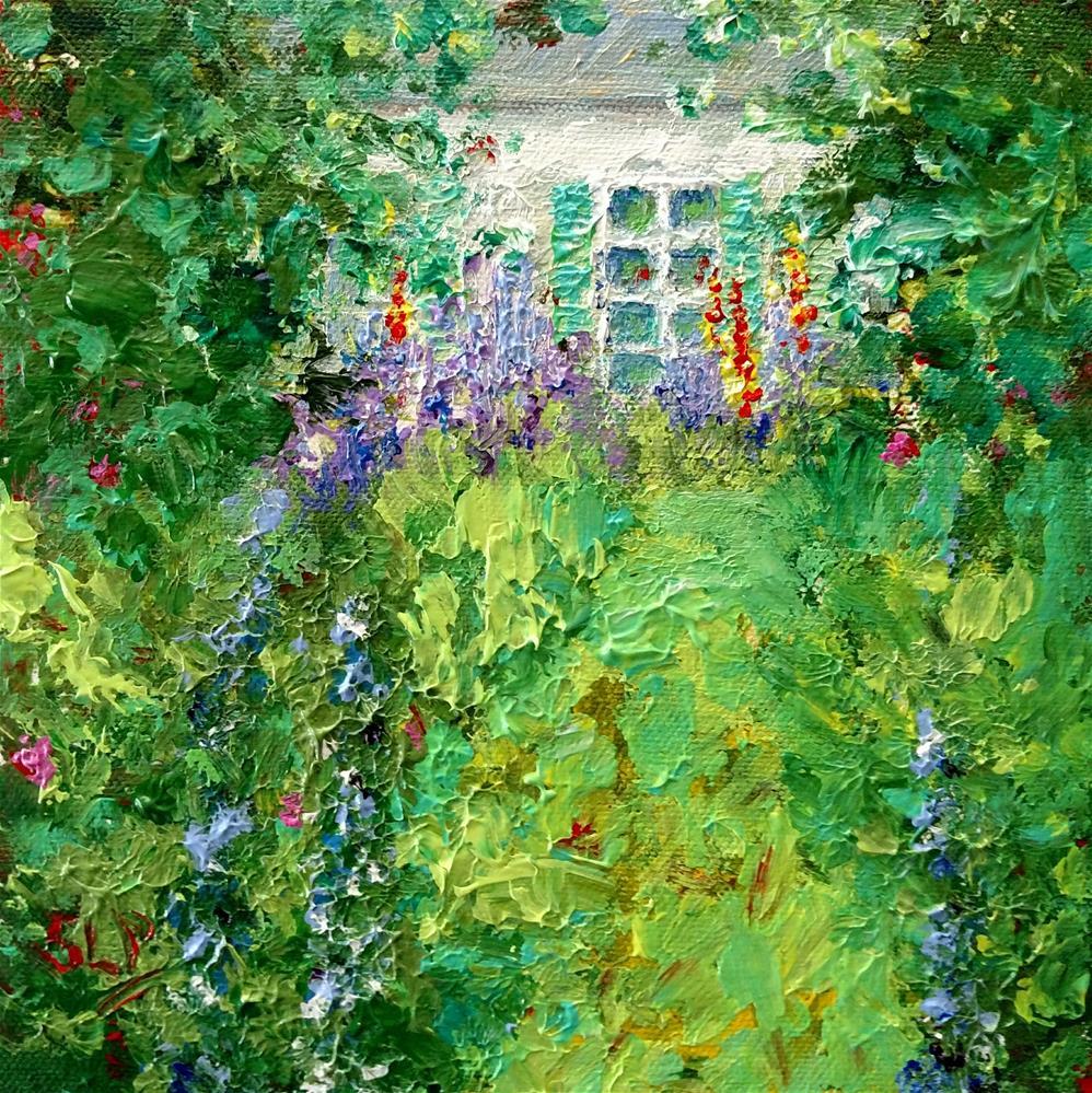 """""""Hollyhock Cottage"""" original fine art by S. Lynne Price"""