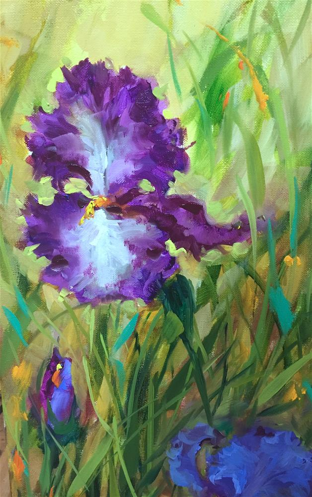 """Purple Dancer Iris Garden"" original fine art by Nancy Medina"