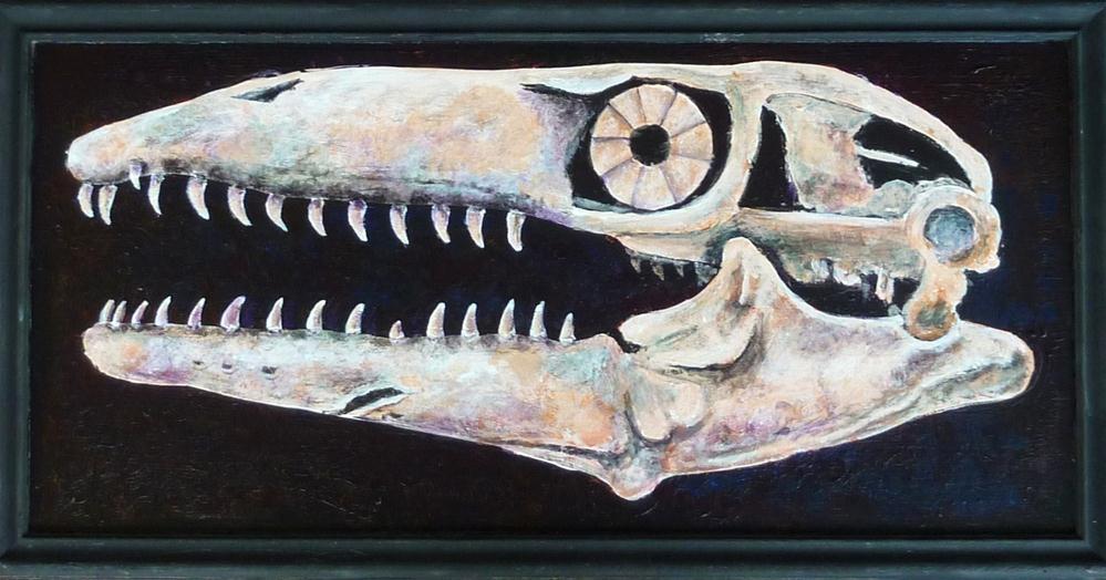 """""""Mosasaur Skull"""" original fine art by Ande Hall"""