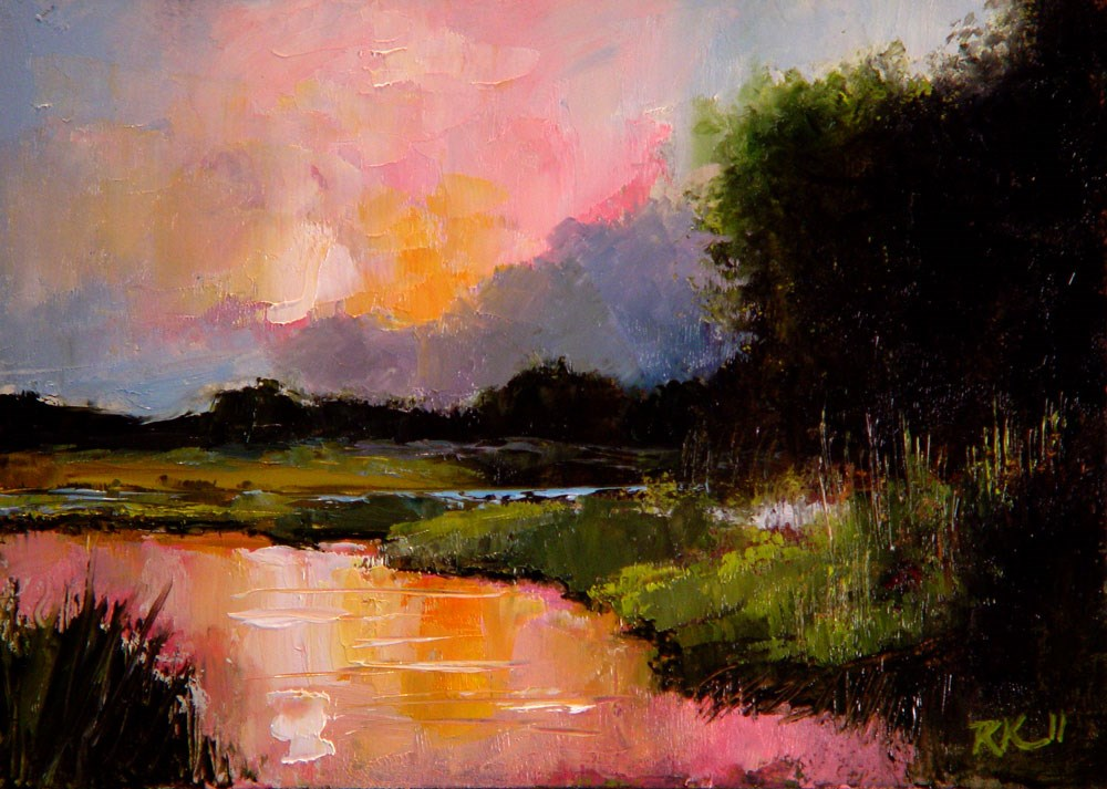 """Reflecting Marshes"" original fine art by Bob Kimball"