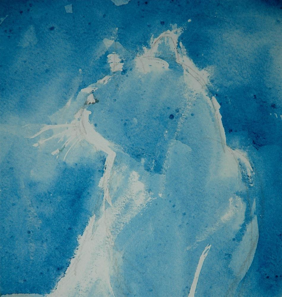 """Blue cat looking back"" original fine art by Ulrike Schmidt"