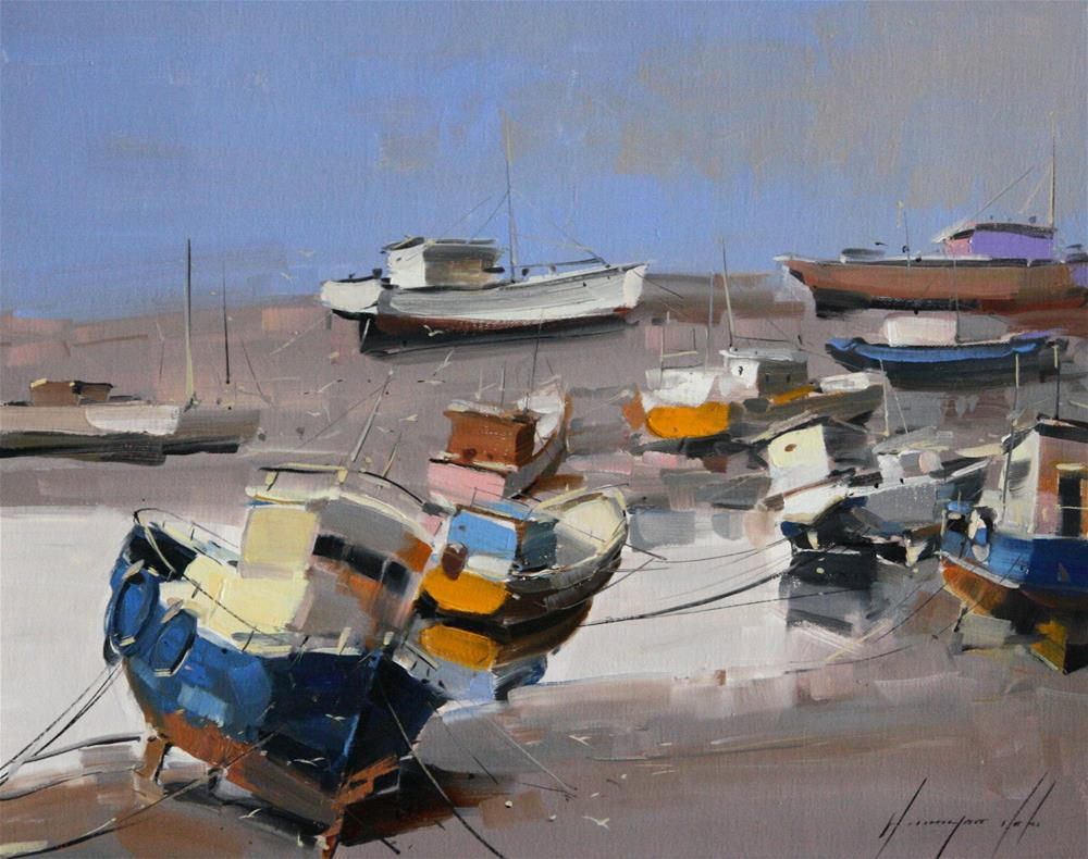"""BOATS ORIGINAL OIL PAINTING ON CANVAS GALLERY QUALITY"" original fine art by V Yeremyan"