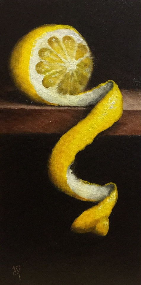 """Long peeled lemon"" original fine art by Jane Palmer"