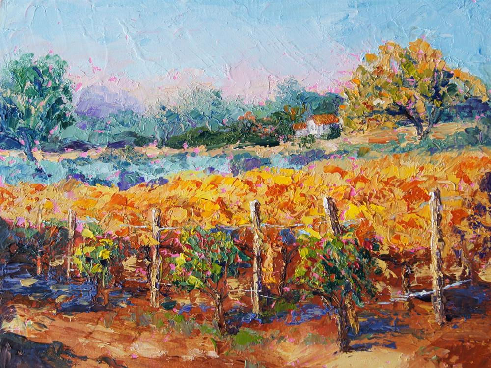 """Autumn Vineyard Provence"" original fine art by Marion Hedger"