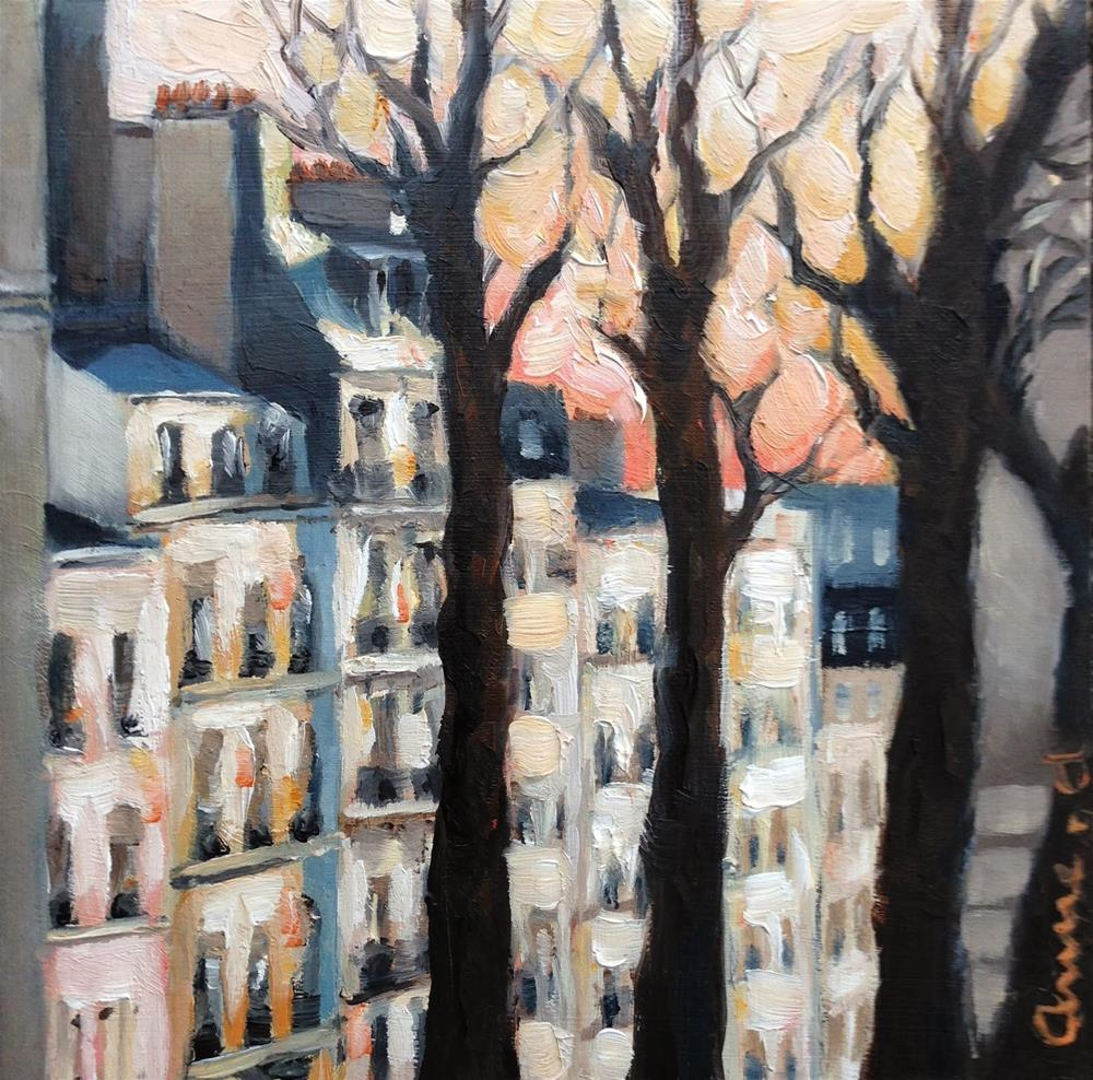 """Coming down from Montmartre at sunset - Paris Series"" original fine art by Anne Ducrot"