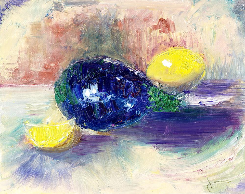 """Lemons And Eggplant"" original fine art by Janet Gunderson"