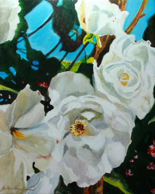 """Climbing White Roses"" original fine art by JoAnne Perez Robinson"