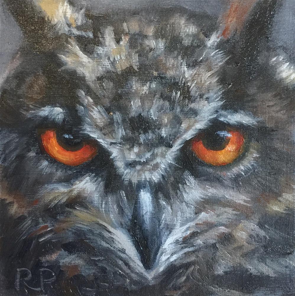 """Owl"" original fine art by Rhea  Groepper Pettit"