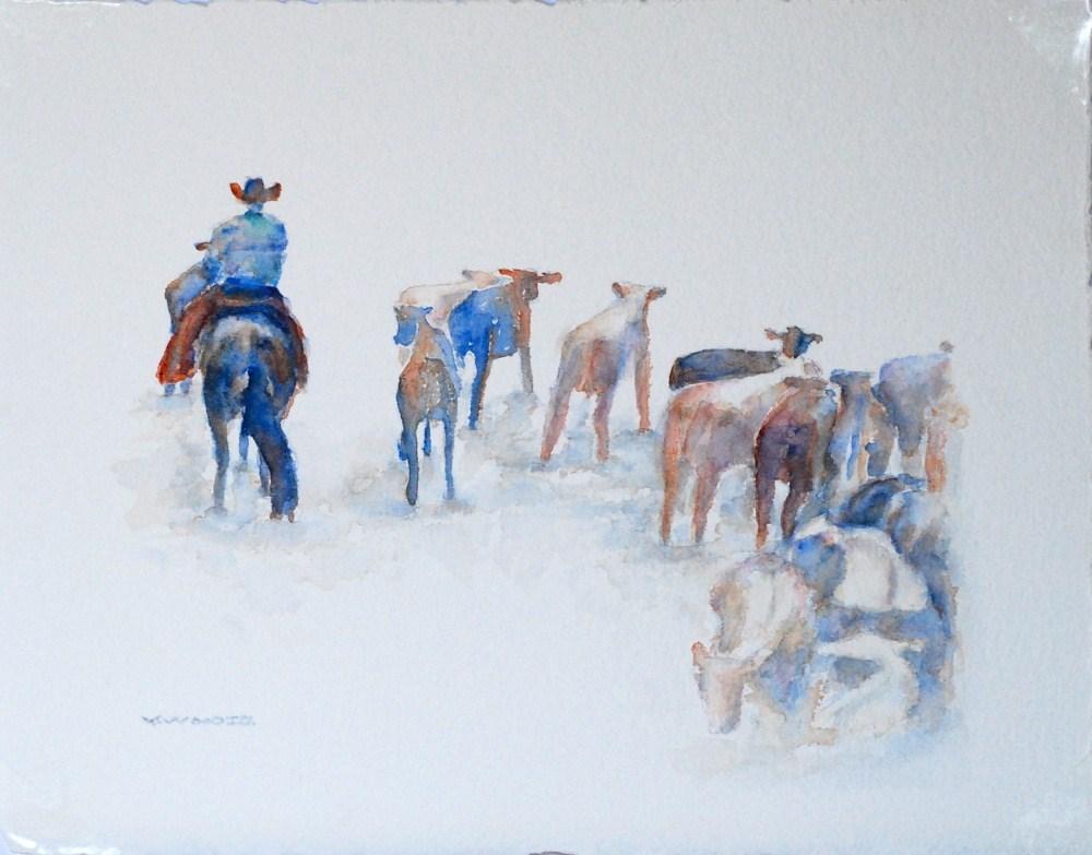 """Cutting Horse & Cowboy 3"" original fine art by Vicki Wood"