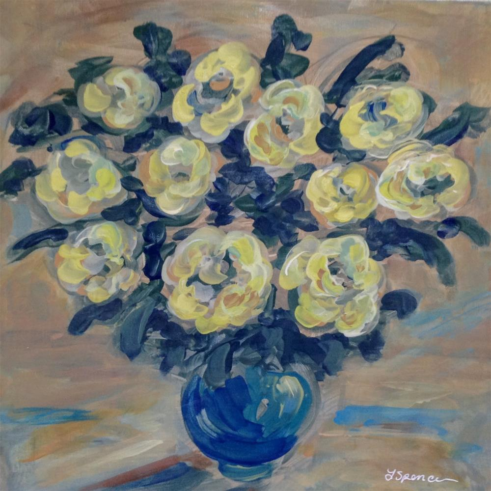 """Yellow Roses"" original fine art by Leslie Spencer"