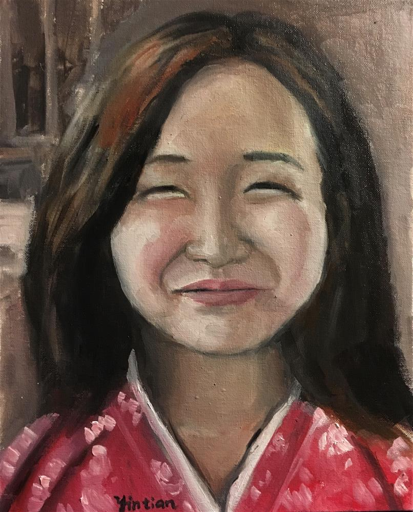 """Do I looks funny"" original fine art by tian yin"
