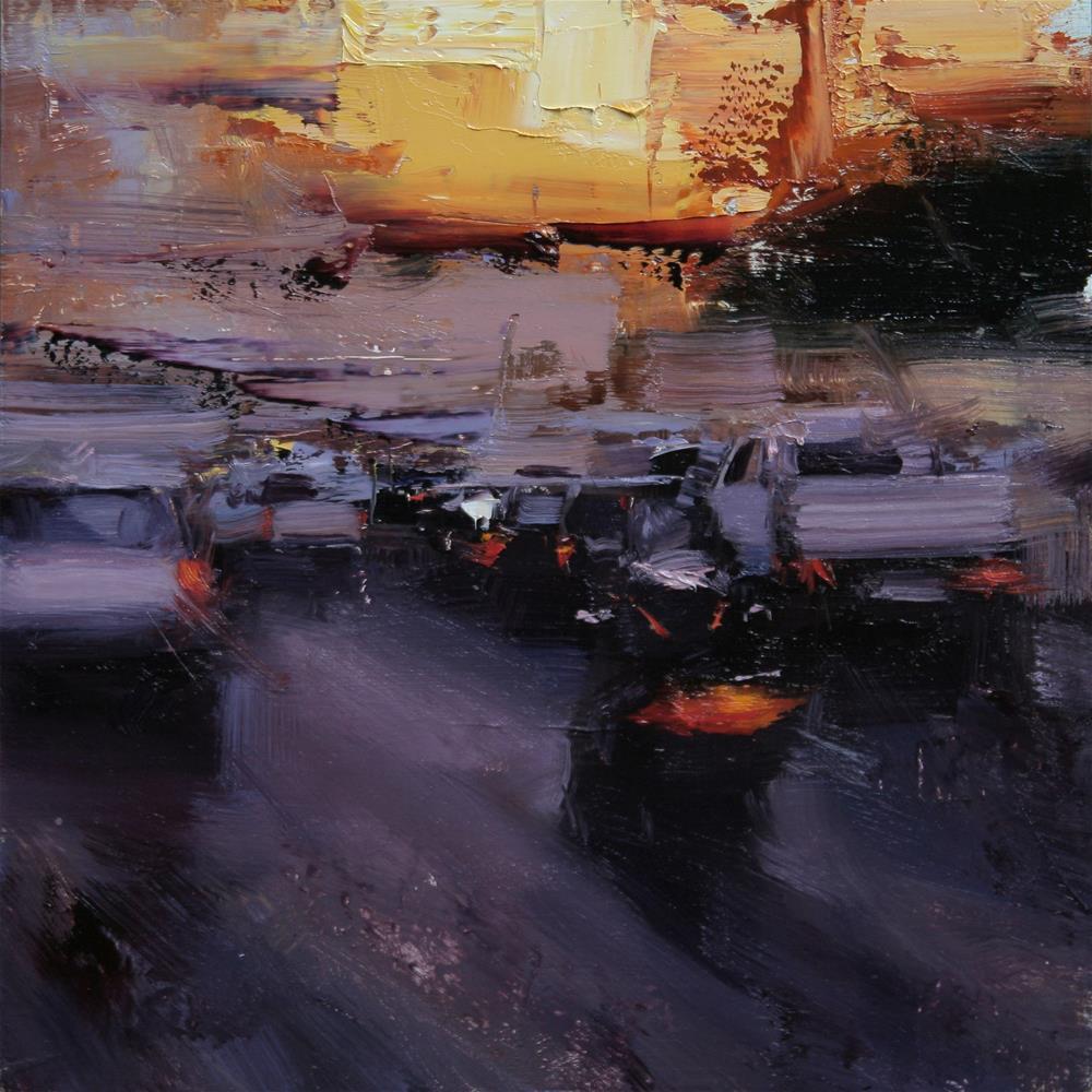 """""""An Evening Traffic"""" original fine art by Tibor Nagy"""