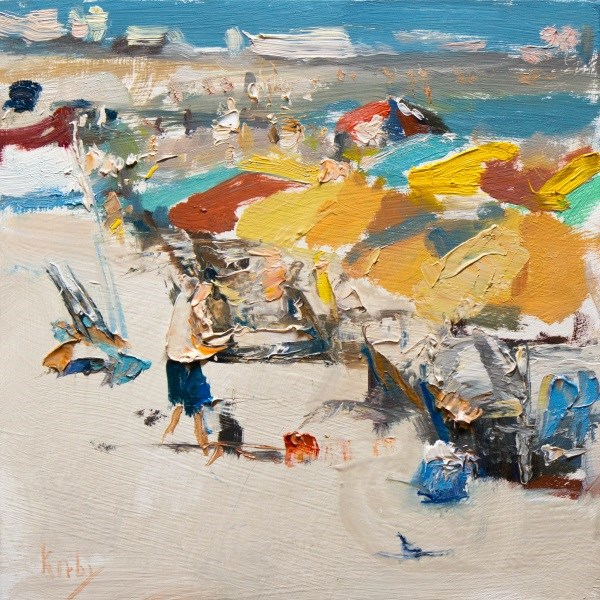 """Beach Umbrellas"" original fine art by Randall Cogburn"